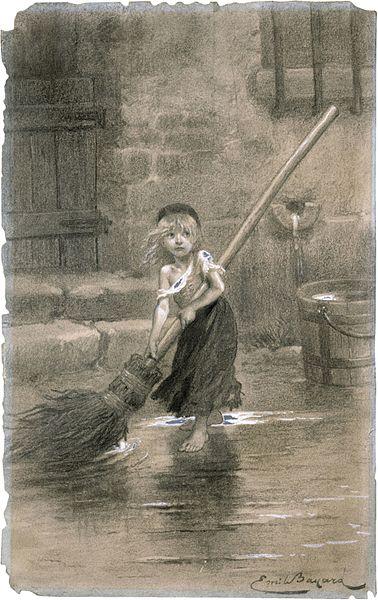 """A primeira imagem de Cosette, de Emile Bayard, edição de 1862 de """"Os Miseráveis"""", de Victor Hugo"""