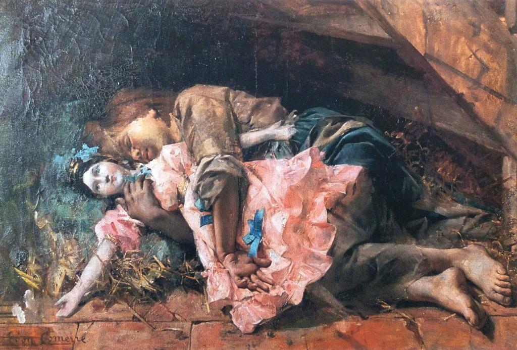 A bela Cosette abraçada em sua boneca, pintada ´pr Leon Comerre