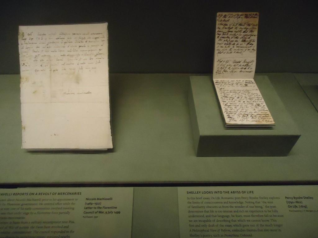 Manuscritos de Maquiavel e Shelley / Foto: Paula Taitelbaum