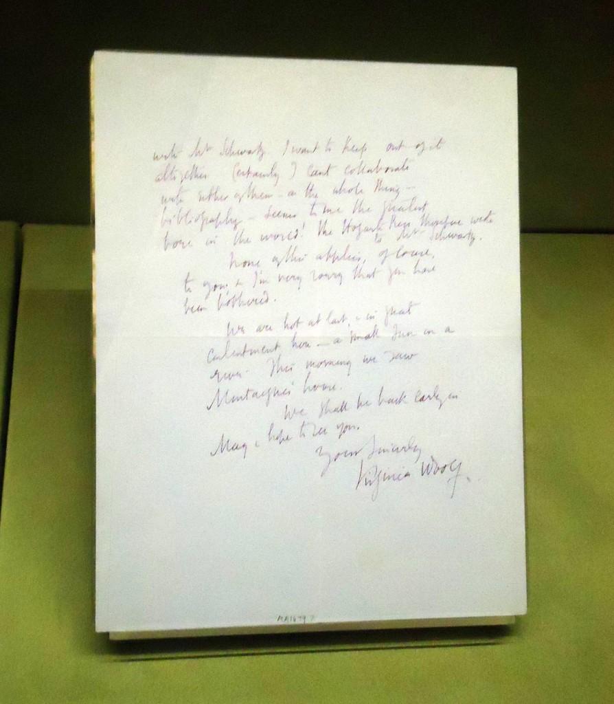 A letra de Virginia Woolf / Foto: Paula Taitelbaum