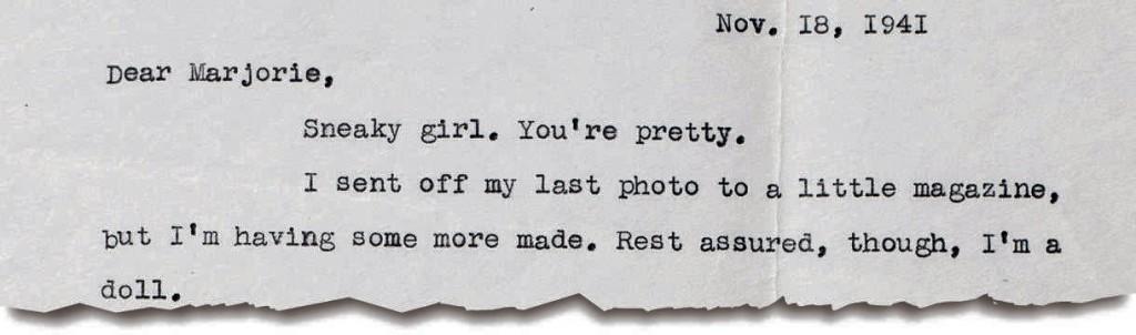 O trecho da carta em que Salinger diz que a moça era bonita