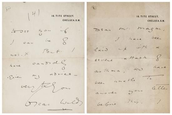 Duas das páginas da carta de Oscar Wilde