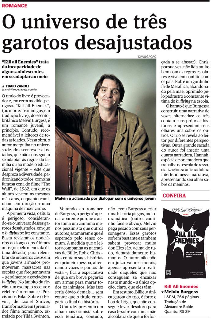 """Matéria publicada no Jornal """"A Gazeta"""", de Vitória, em 6 de maio de 2013. Clique para ampliar"""