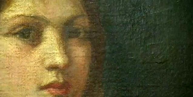 Detalhe de uma das pinturas de Khalil Gibran