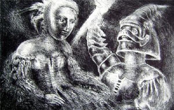 Dom Quixote por Marcello Grassmann. Gravura em metal