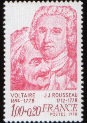 Mais um selo francês. Mas dessa vez, Rousseau está acompanhado de Voltaire