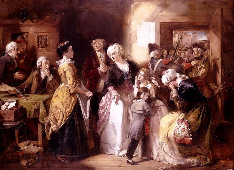 Pintura mostra o rei Luís XVI, a rainha, Maria Antonieta, e seus filhos, na fuga de Varenne que aconteceu em 1791