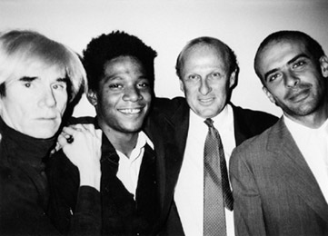 Bruno Bischofberger with Andy Warhol, Jean-Michel Basquiat and Francesco Clemente, New York 1984