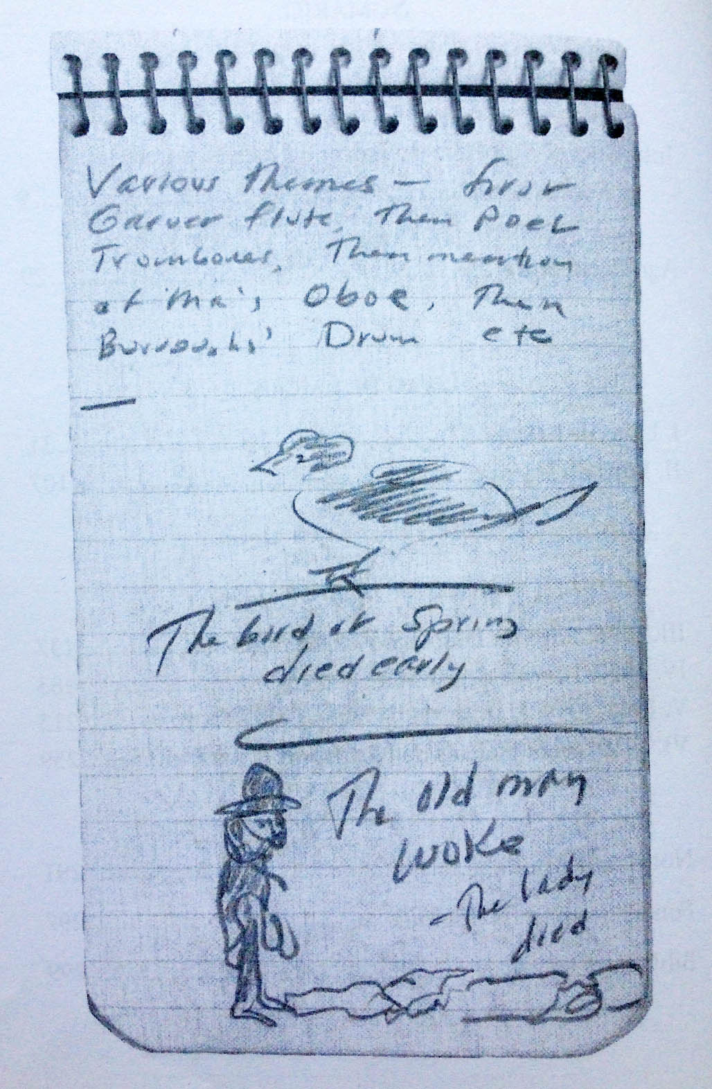 Página de um dos caderninhos de Jack Kerouac, com seus desenhos e haicais