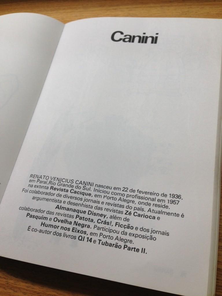 A página da antologia explicava quem era Canini