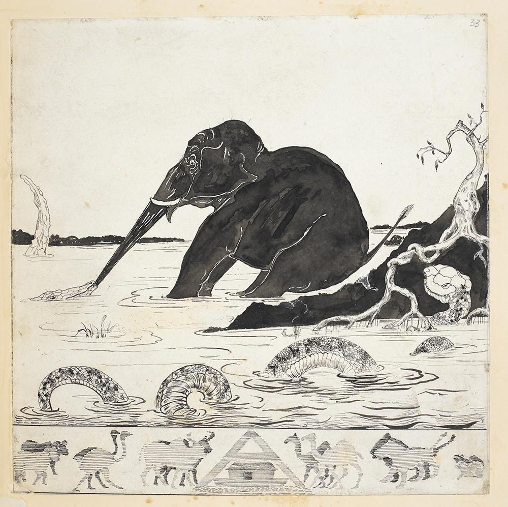 """""""The Elephant Child"""", de Rudyard Kipling. Clique na imagem para ampliá-la."""