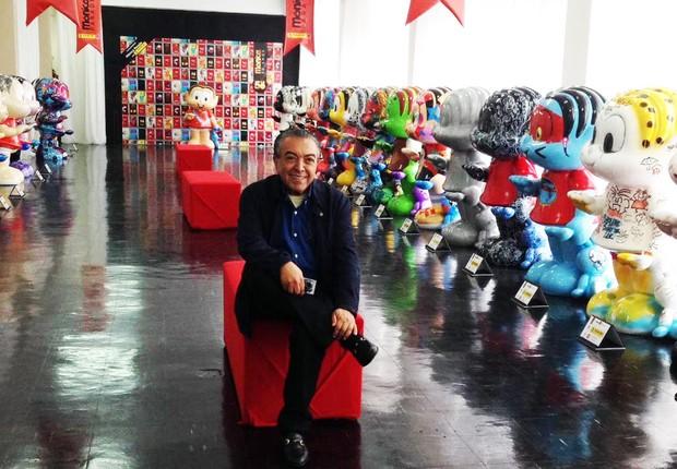 Mauricio de Sousa e as esculturas do Mônica Parade