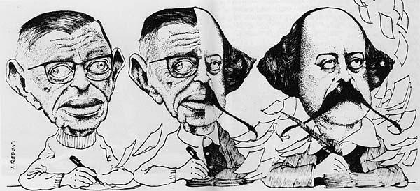 """Em 7 de maior de 1971, o """"Figaro littéraire"""" publicou uma caricatura feito por J. Redon em que Sartre vai se transformando em Flaubert"""
