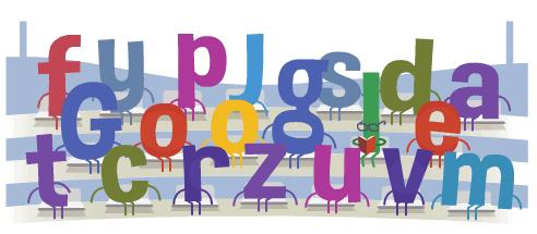 Leitor concentrado em meio às letras.