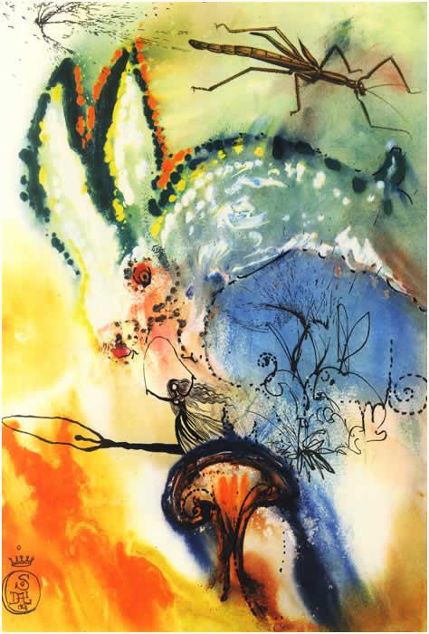 Alice na toca do coelho, uma das doze ilustrações que Dalí fez para a obra de Lewis Carroll