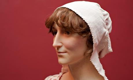 A sculpture of Jane Austen is unveiled at the Jane Austen Centre, Bath