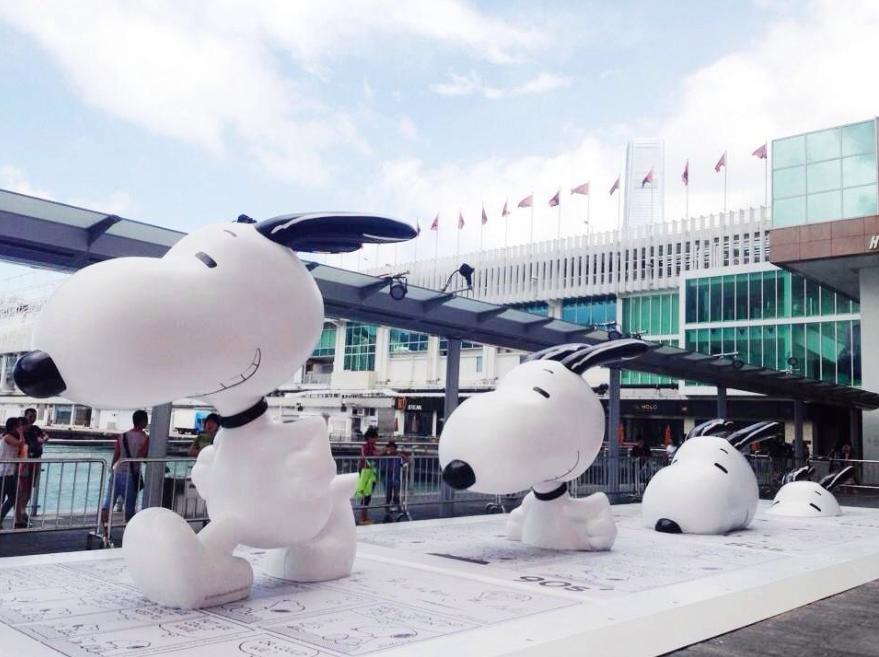 Um gigantesco Snoopy em Hong Kong