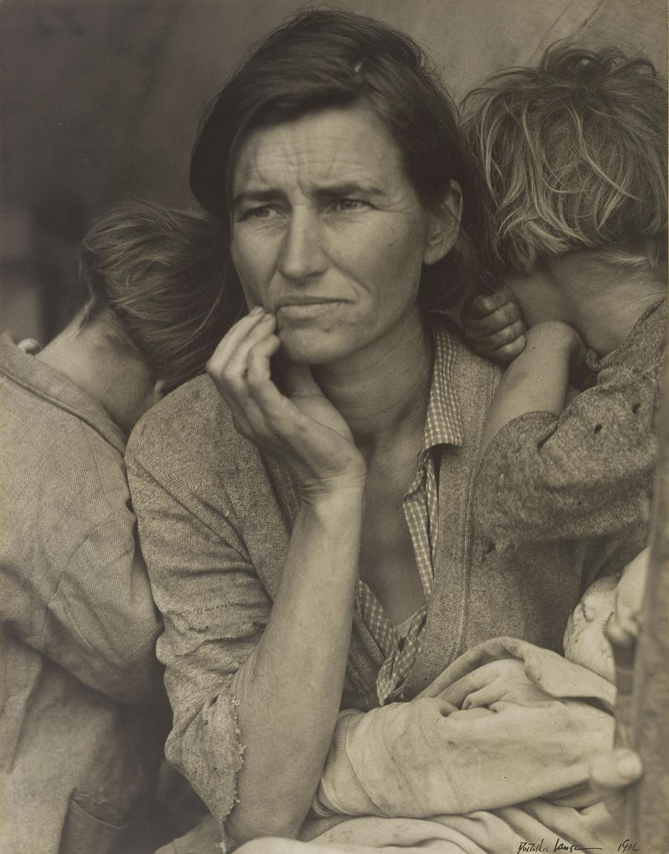 Dorothea Lange (United States, 1895–1965), Human Erosion in California (Migrant Mother), 1936, gelatin silver print (13 7/16 x 10 9/16 in.) (The J. Paul Getty Museum, Los Angeles)