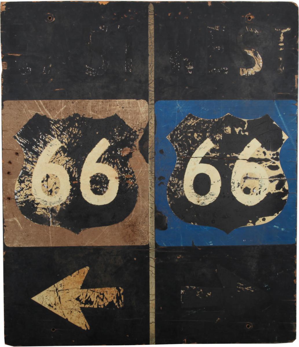 """Placas originais dos anos 1970 -  """"East 66 / West 66,"""" Williams, Arizona, circa 1970s. Coleção Steve Rider"""