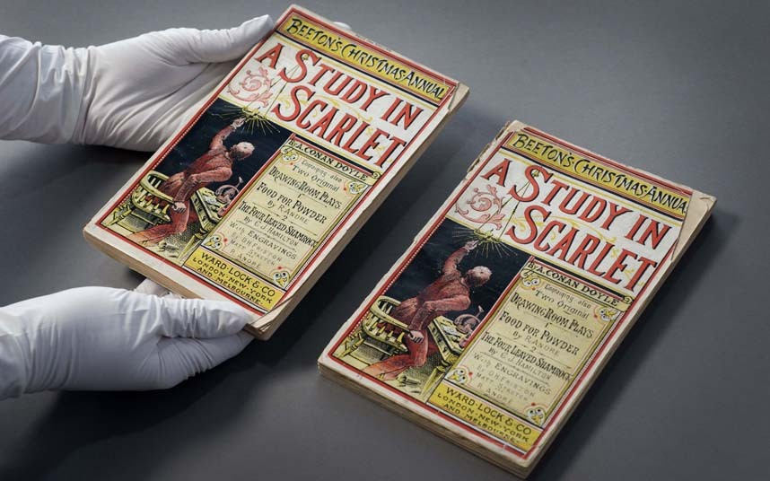 """As primeira edições da primeira história de Sherlock Holmes: """"Um estudo em vermelho"""""""