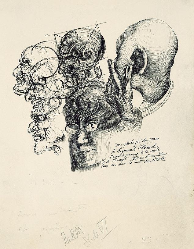 """""""Morphologie"""" do crânio de Freud feita por Dalí nos anos 1930"""