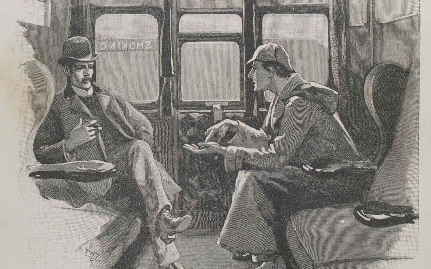 Ilustração de uma das histórias de Sherlock Holmes e Dr. Watson, publicada na Strand Magazine - Coleção Privada