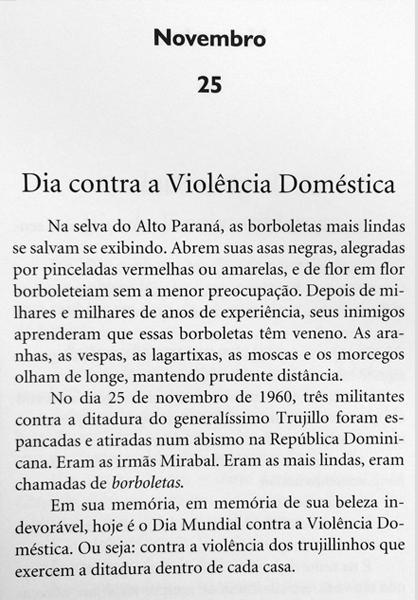"""Página do livro """"Os filhos dos dias"""" de Eduardo Galeano"""