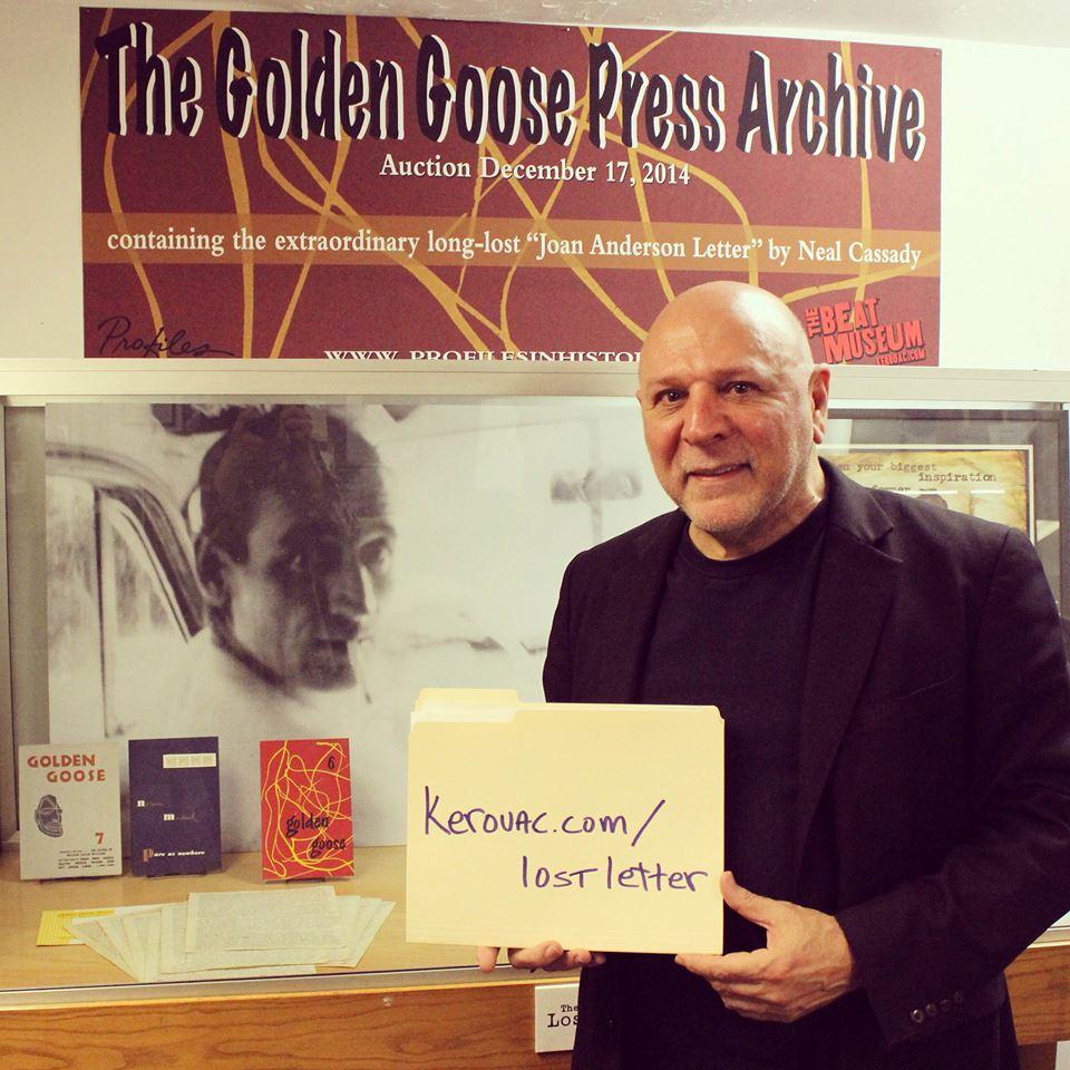 """O diretor do Beat Museum, Jerry Cimino, esta em campanha para arrecadar fundos para a compra da carta que é considerada o """"Santo Graal da Geração Beat""""."""