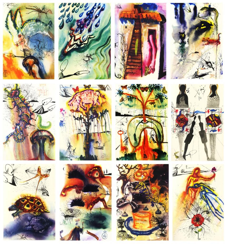 Em 1969, Salvador Dalí realizou doze desenhos surreais para a história de Alice, de Lewis Carroll