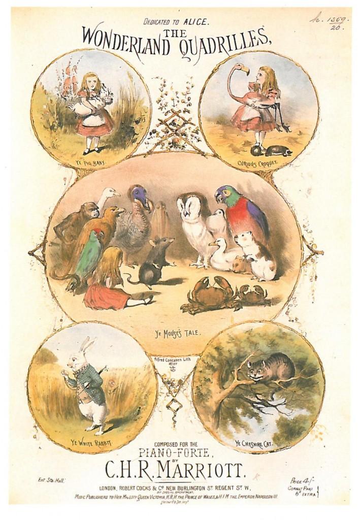 Cartaz de uma peça musical para piano-forte inspirada na Alice de Lewis Carroll