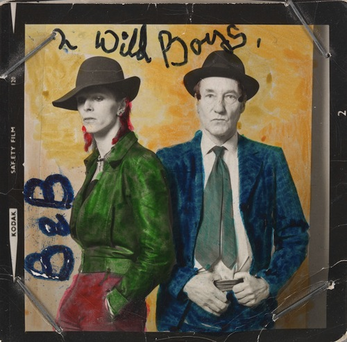 David Bowie and William Burroughs photographed by  Terry O'Neill in 1974 and hand-coloured by Bowie