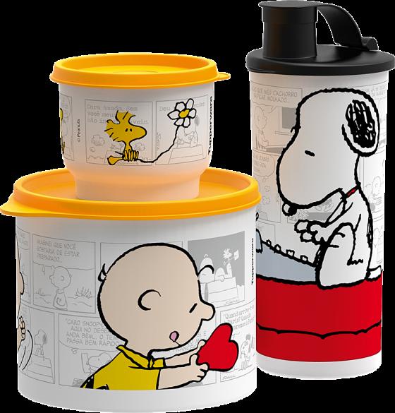 A marca Tupperware também preparou uma linha Peanuts que breve chegará ao mercado.