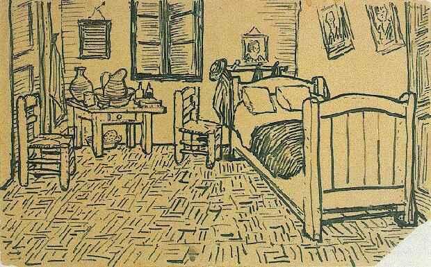 Desenho do quarto enviado para o irmão Theo