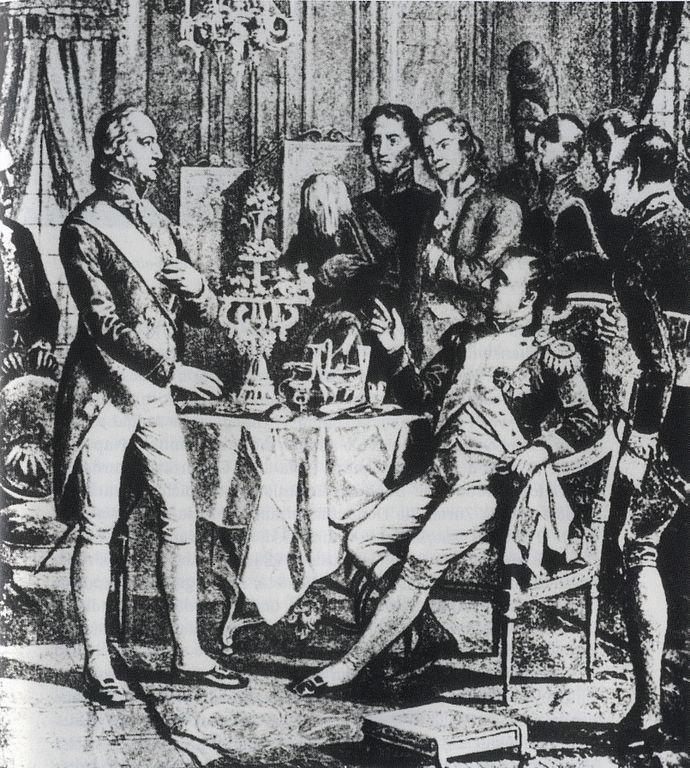 """O encontro de Goethe e Napoleão - Desenho de 1828, feito por Jahrgang Angsburg, """"Goethe e Napoleão I"""", gravura feita a partir do desenho de Eugène Ernest Hillemacher"""