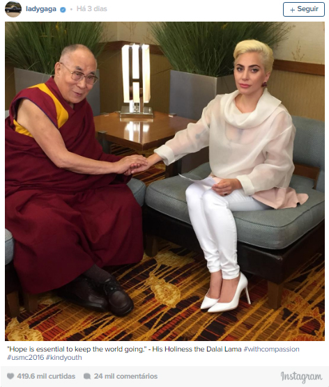 Lady Gaga Dalai Lama Instagram