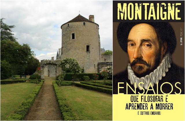 """Julia Simões visitou no ano passado o castelo no qual Montaigne escreveu os """"Ensaios"""", em Bordeaux, na França.   Ao lado, a capa do primeiro volume traduzido por Julia, já nas livrarias"""
