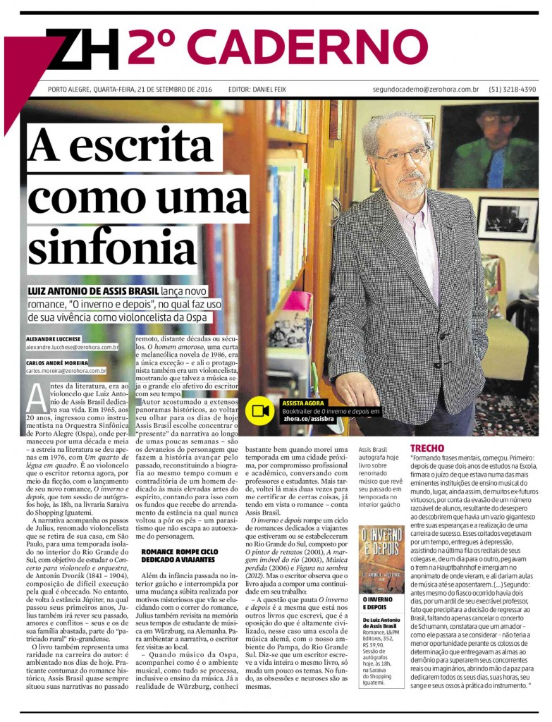 O novo livro de Luiz Antonio de Assis Brasil em destaque no jornal Zero Hora (clique para ampliar)