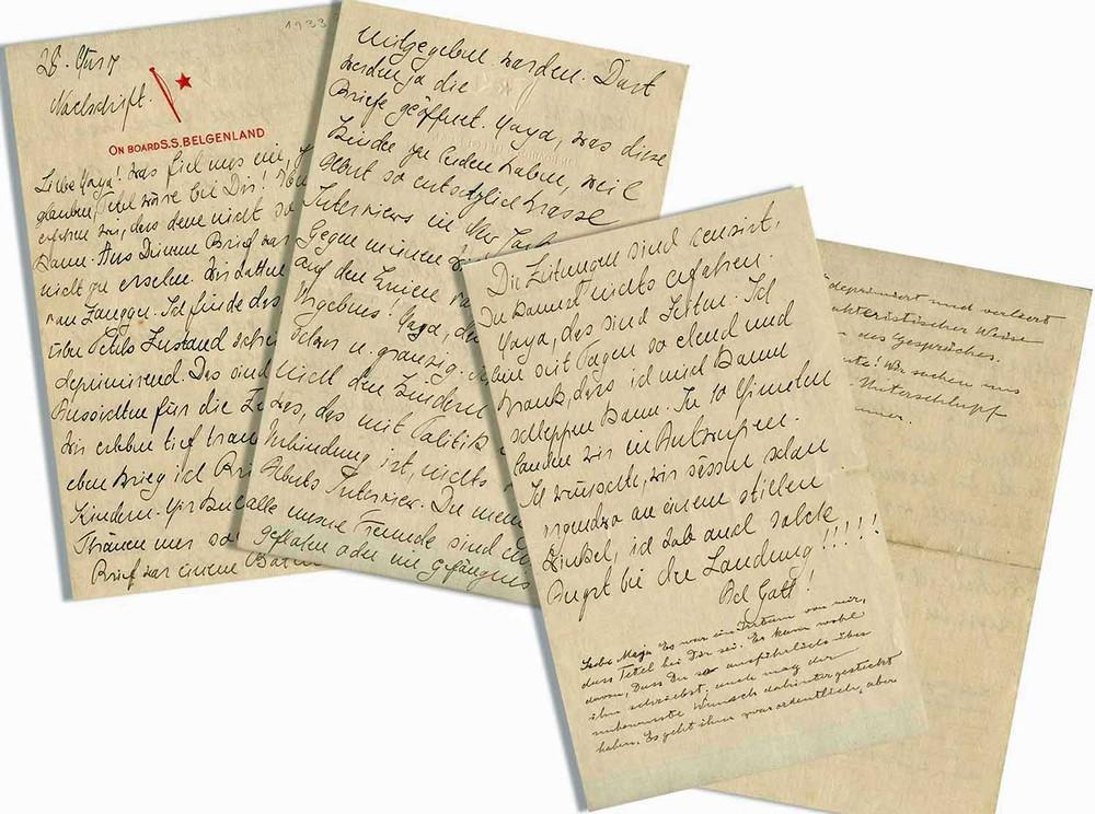 A carta escrita por Einstein e sua esposa Elsa que foi leiloada por U$ 25 mil.